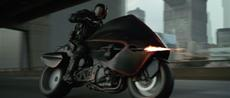 """Judge Dredd auf seinem Motorrad """"Lawmaster"""""""
